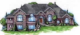 House Plan 79817 | European Style Plan with 2546 Sq Ft, 4 Bedrooms, 4 Bathrooms, 3 Car Garage Elevation
