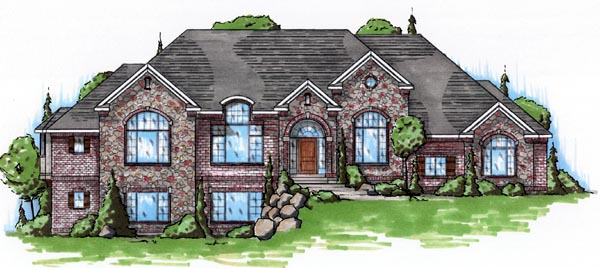 European House Plan 79817 with 4 Beds, 4 Baths, 3 Car Garage Elevation