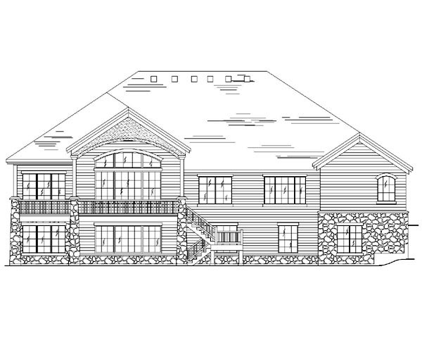 European House Plan 79818 with 6 Beds, 5 Baths, 3 Car Garage Rear Elevation