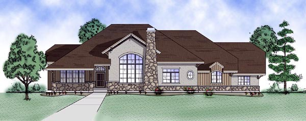 House Plan 79821   European Style Plan with 2566 Sq Ft, 4 Bedrooms, 3 Bathrooms, 3 Car Garage Elevation