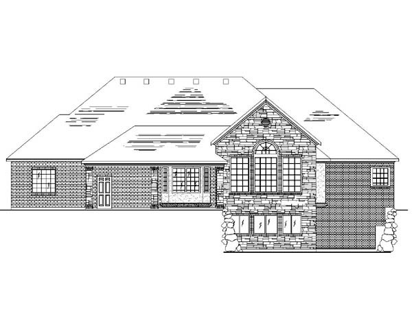 European House Plan 79827 with 4 Beds, 2 Baths, 3 Car Garage Rear Elevation