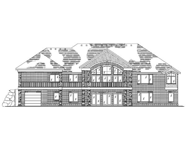 European House Plan 79829 with 6 Beds, 5 Baths, 3 Car Garage Rear Elevation