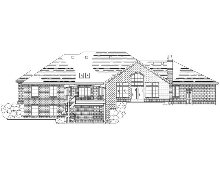 House Plan 79832 | European Style Plan with 2624 Sq Ft, 7 Bedrooms, 6 Bathrooms, 3 Car Garage Rear Elevation