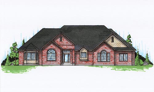 European House Plan 79837 with 4 Beds, 3 Baths, 3 Car Garage Elevation
