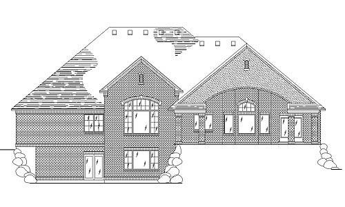 European House Plan 79845 with 4 Beds, 4 Baths, 3 Car Garage Rear Elevation