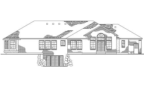 House Plan 79848 | European Style Plan with 2811 Sq Ft, 4 Bedrooms, 3 Bathrooms, 3 Car Garage Rear Elevation