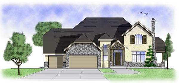 House Plan 79900 | European Style Plan with 2816 Sq Ft, 4 Bedrooms, 3 Bathrooms, 3 Car Garage Elevation