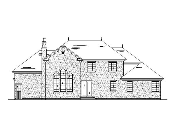 Traditional House Plan 79933 with 4 Beds, 4 Baths, 3 Car Garage Rear Elevation