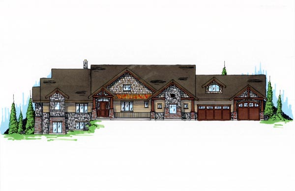 Craftsman House Plan 79935 with 4 Beds, 4 Baths, 3 Car Garage Front Elevation
