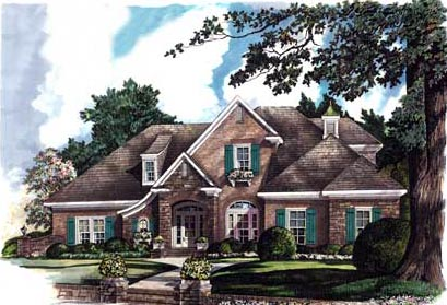 House Plan 80000 | European Style Plan with 3531 Sq Ft, 4 Bedrooms, 4 Bathrooms, 3 Car Garage Elevation