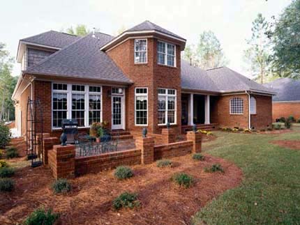 House Plan 80000 | European Style Plan with 3531 Sq Ft, 4 Bedrooms, 4 Bathrooms, 3 Car Garage Rear Elevation