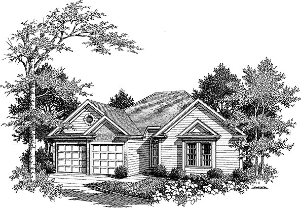 Traditional House Plan 80126 with 3 Beds, 2 Baths, 2 Car Garage Elevation