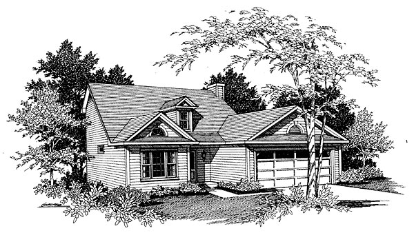 Cottage House Plan 80127 with 3 Beds, 2 Baths, 2 Car Garage Elevation