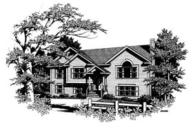 Traditional House Plan 80128 with 3 Beds, 2 Baths, 2 Car Garage Elevation