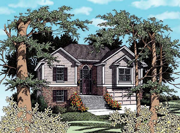 Traditional House Plan 80129 with 3 Beds, 2 Baths, 2 Car Garage Elevation