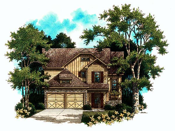 Craftsman House Plan 80177 with 3 Beds, 2 Baths, 2 Car Garage Elevation