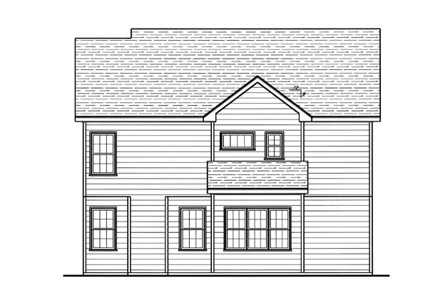 Craftsman , Rear Elevation of Plan 80177