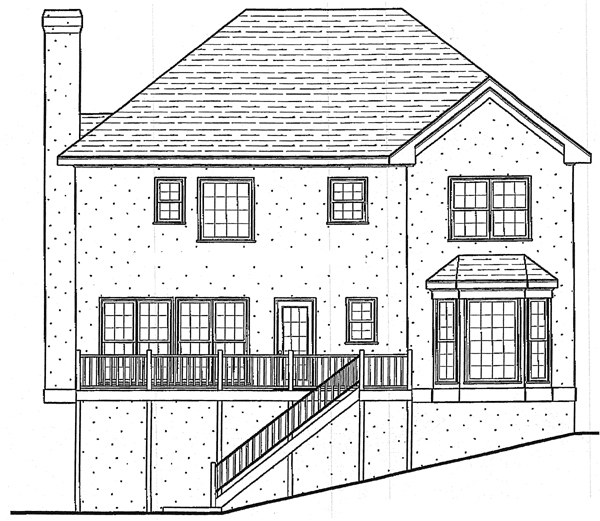 European House Plan 80186 Rear Elevation