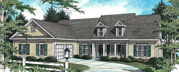 Cottage House Plan 80188 with 4 Beds, 3 Baths, 2 Car Garage Elevation