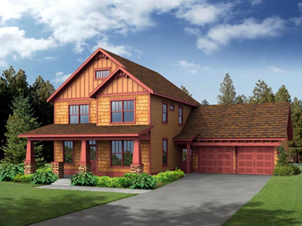 Craftsman House Plan 80196 with 4 Beds, 3 Baths, 2 Car Garage Elevation