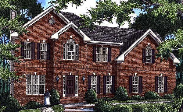 House Plan 80201 | Traditional Style Plan with 2367 Sq Ft, 4 Bedrooms, 3 Bathrooms, 2 Car Garage Elevation