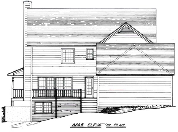 Country Rear Elevation of Plan 80202