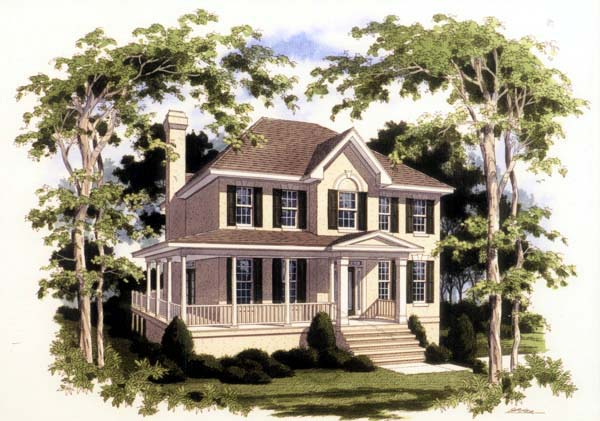 European House Plan 80203 with 4 Beds, 3 Baths, 2 Car Garage Elevation