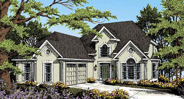 European House Plan 80207 with 3 Beds, 3 Baths, 2 Car Garage Elevation