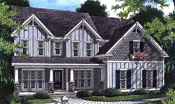 Cottage House Plan 80215 with 5 Beds, 3 Baths, 2 Car Garage Elevation