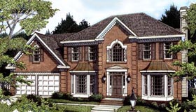 Colonial House Plan 80217 with 4 Beds, 4 Baths, 2 Car Garage Elevation