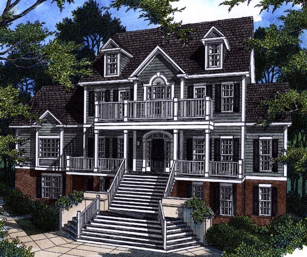 Historic House Plan 80219 with 4 Beds, 4 Baths, 2 Car Garage Elevation