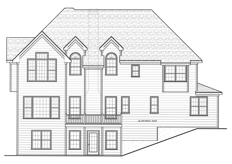 Colonial House Plan 80222 Rear Elevation