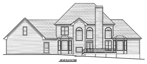 House Plan 80223 | Southern Style House Plan with 2859 Sq Ft, 4 Bed, 4 Bath, 2 Car Garage Rear Elevation