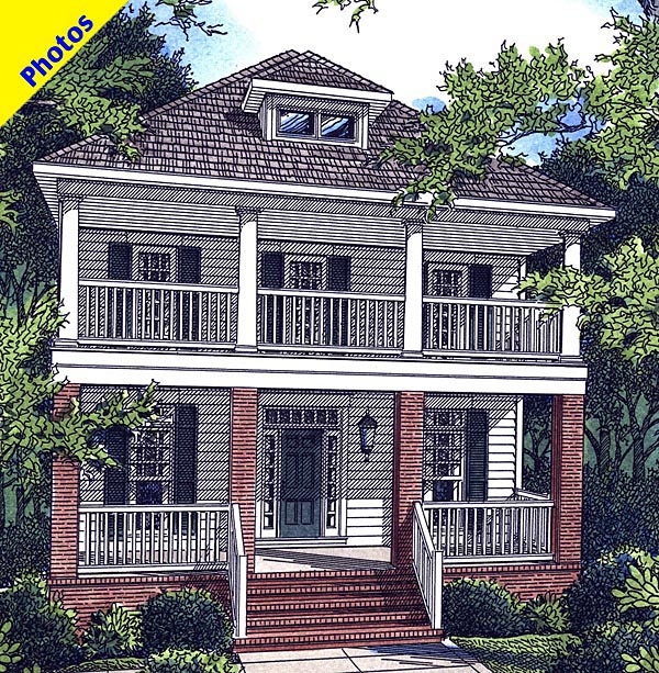 Historic Plan with 3020 Sq. Ft., 3 Bedrooms, 3 Bathrooms, 2 Car Garage Elevation