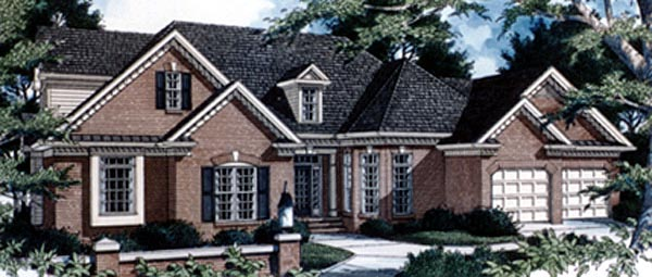 European House Plan 80232 with 3 Beds, 3 Baths, 2 Car Garage Elevation