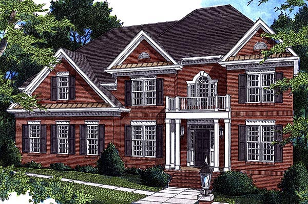 Colonial House Plan 80233 with 5 Beds, 4 Baths, 2 Car Garage Elevation