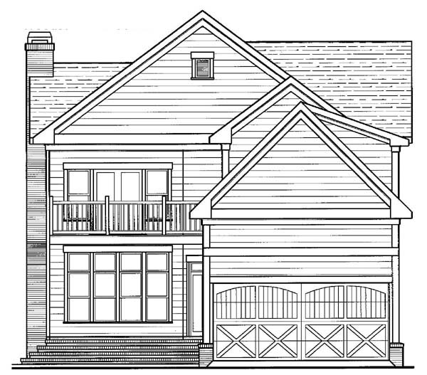Historic House Plan 80235 with 4 Beds, 4 Baths, 2 Car Garage Rear Elevation