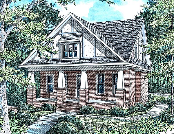 Cottage House Plan 80236 with 4 Beds, 3 Baths, 2 Car Garage Elevation