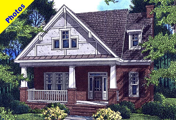 Cottage House Plan 80238 with 4 Beds, 4 Baths, 2 Car Garage Elevation