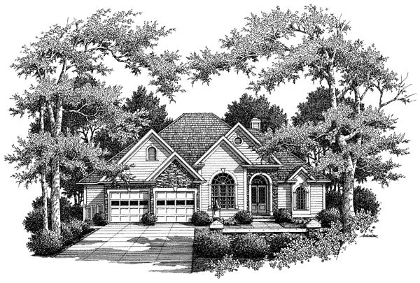 Cottage House Plan 80242 with 5 Beds, 4 Baths, 2 Car Garage Elevation
