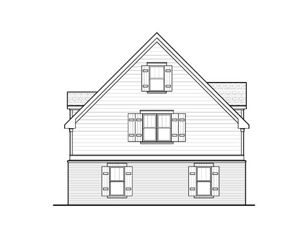 Cottage , Rear Elevation of Plan 80251