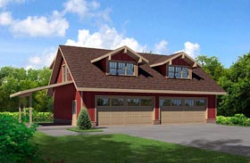 Cottage 4 Car Garage Apartment Plan 80252 with 1 Beds, 1 Baths Elevation