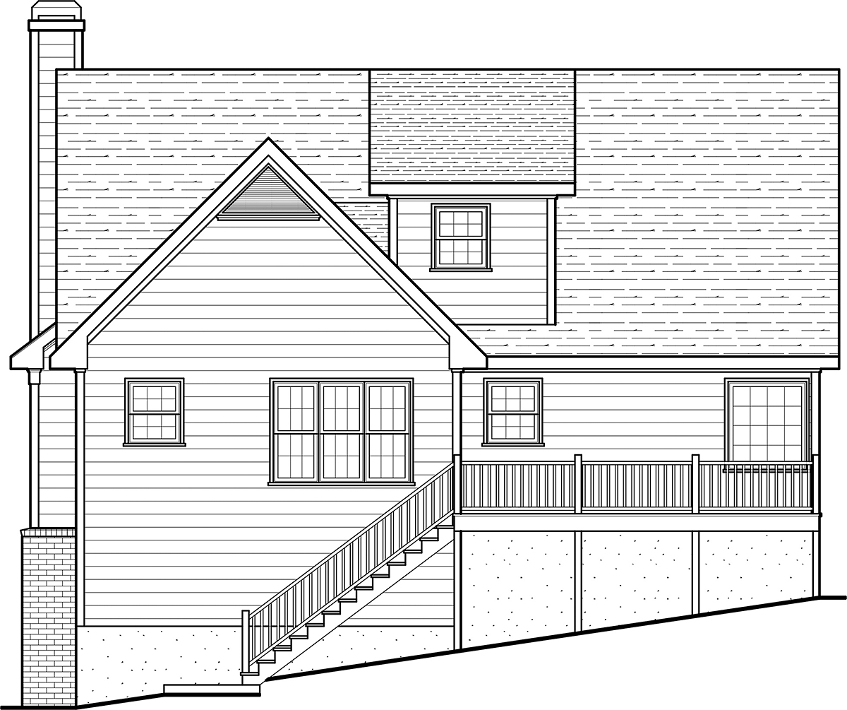 Country Farmhouse Southern House Plan 80254 Rear Elevation