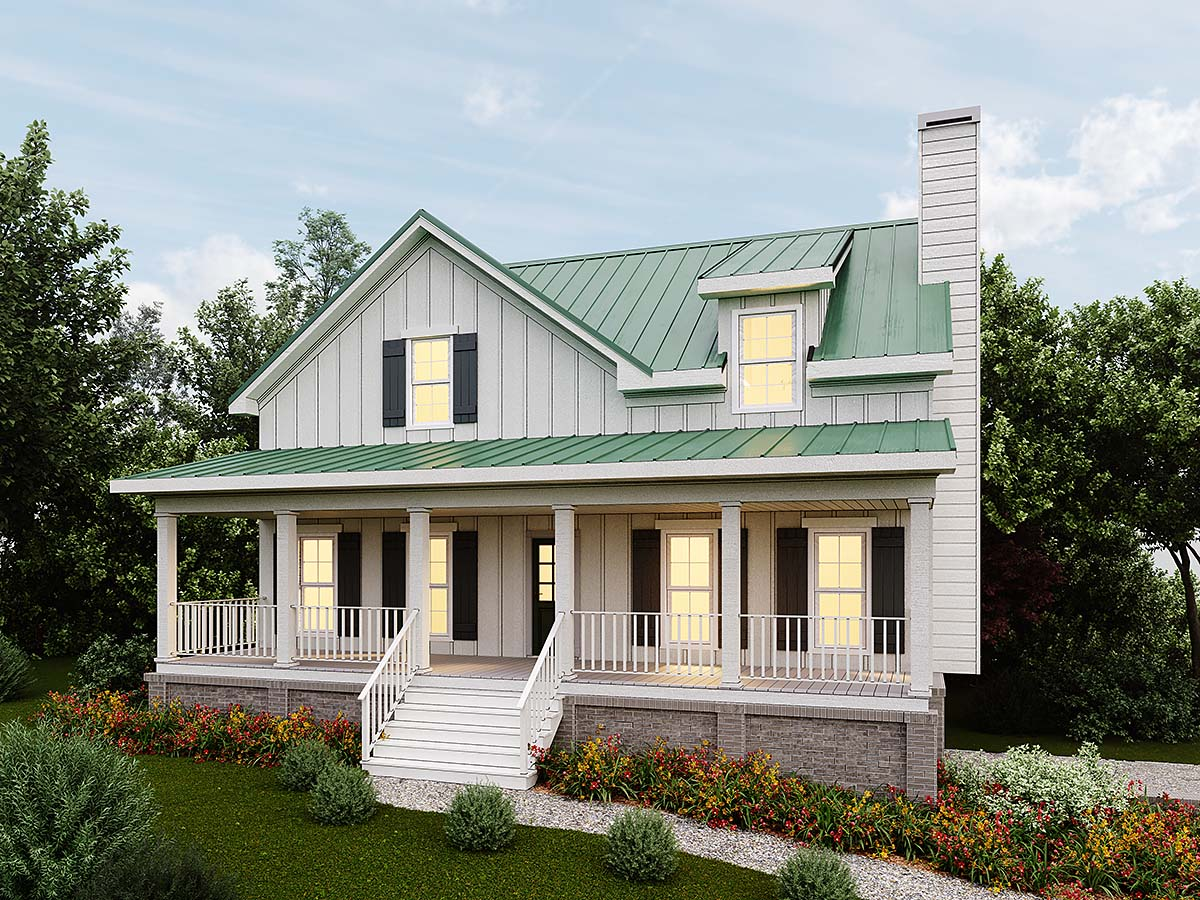 Country, Farmhouse, Narrow Lot, Southern House Plan 80256 with 4 Beds, 3 Baths, 2 Car Garage Elevation