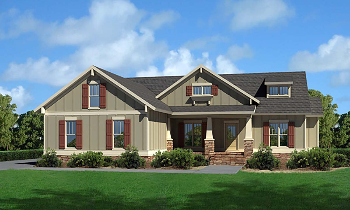 Cottage, Craftsman, Narrow Lot, One-Story, Traditional House Plan 80257 with 3 Beds , 3 Baths , 2 Car Garage Elevation
