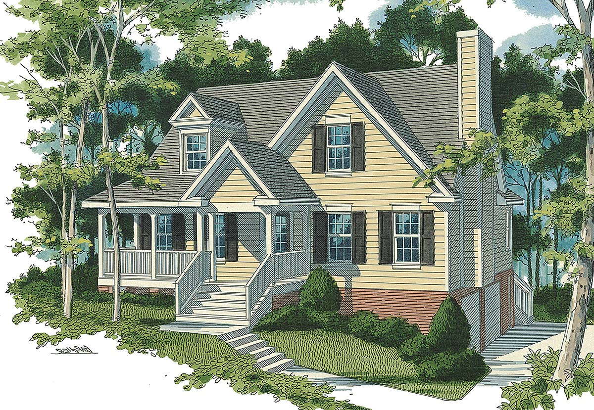 Cottage, Country, Farmhouse, Traditional House Plan 80258 with 4 Beds, 3 Baths, 3 Car Garage Elevation
