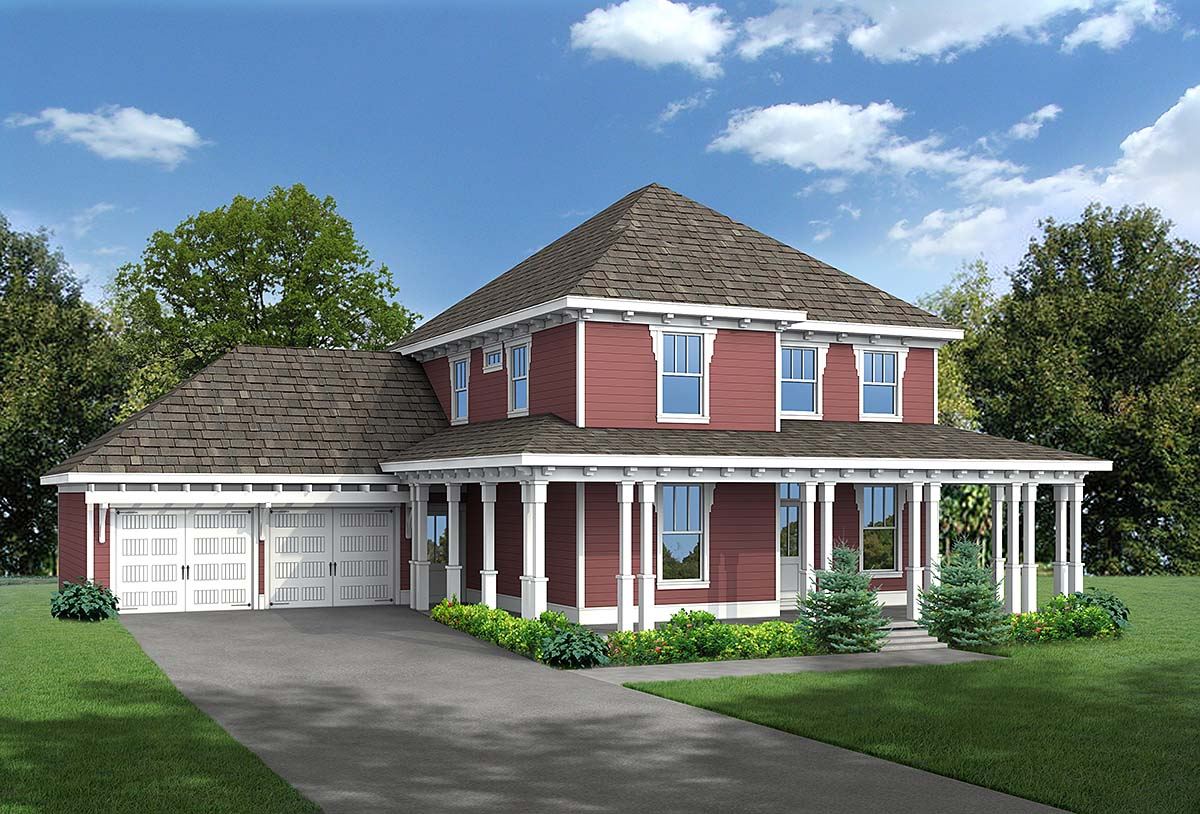 Country, Craftsman, Narrow Lot House Plan 80262 with 4 Beds , 3 Baths , 2 Car Garage Elevation