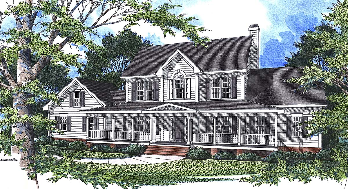 Country, Farmhouse, Southern, Traditional House Plan 80266 with 4 Beds, 4 Baths, 2 Car Garage Elevation
