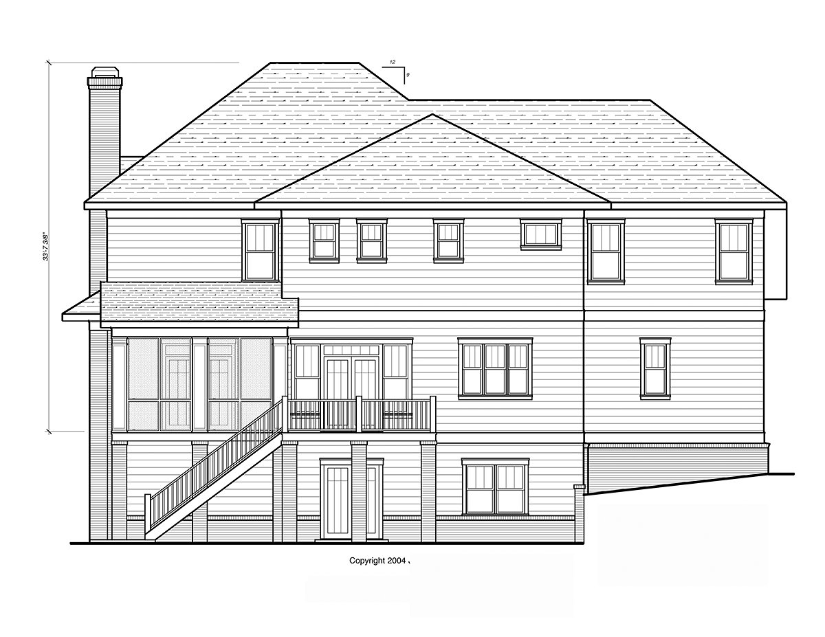 Craftsman, Traditional House Plan 80267 with 4 Beds, 4 Baths, 2 Car Garage Rear Elevation