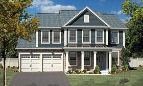 House Plan 80300 | Colonial Traditional Style Plan with 2674 Sq Ft, 4 Bedrooms, 3 Bathrooms, 2 Car Garage Elevation